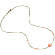 SALE Pretty Feminine Faux Pearl & Coral Rose Beaded Necklace