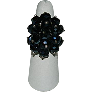 SALE Black Glass Faceted Beaded Cluster Ring ~ Adjustable