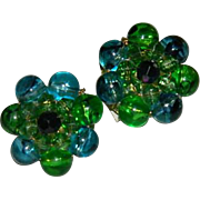 SALE Brilliant Glowing Blues & Greens Beaded Cluster Earrings