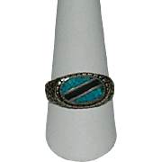 SALE Wonderful Gent's Turquoise & Jet Ring ~ Sz 12