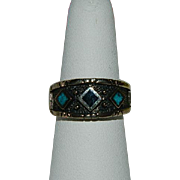 SALE Handsome Turquoise & Jett Diamond Design Ring ~ sz 9