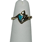 SALE Sweet COP Turquoise Triple Heart Ring sz 4.5