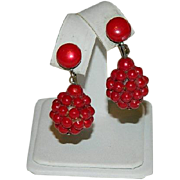 SALE Raspberry Red Early Plastics Drop Earrings