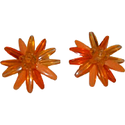 SALE W. Germany Orange ~ Yellow Early Plastics Flower Earrings