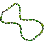SALE Pretty Lime Green Moonglow Lucite & Celluloid Beaded Necklace
