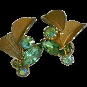 SALE Glorious Lime Green Rhinestone Fall Earrings