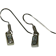 SALE 14K White Gold Filled Monet! Stunning Crystal Baguette Dangler Earrings