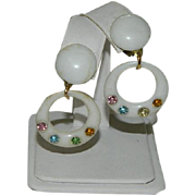 SALE 1950's Popular Celluloid Rhinestone Hoop Earrings