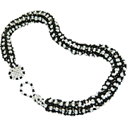 SALE American Indian Black & White Seed Bead Thick Rope Necklace