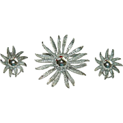 SALE Pretty Silver Tone Omega Back Sunflower Brooch & Earring set