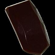 SALE Genuine Bakelite Hand Carved Dress Fur Clip ~ Wine Color