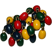 SALE WWII Era Painted Wood Beaded Cluster Waterfall Earrings