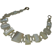 SALE Gorgeous Antique Mother of Pearl Seed Bead Bracelet