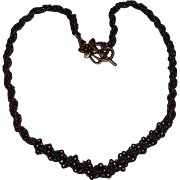 SALE Impeccable Carnival Glass Micro Beads Embroidered Necklace