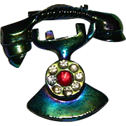 SALE Fun Figural Two piece Telephone Brooch