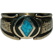 SALE Vermeil Turquoise Onyx Men's Ring sz 8.5 Old Store Stock