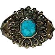 SALE Sublime Vermeil Turquoise Victorian Revival Ring sz 4.5