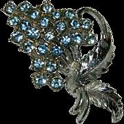 SALE Pegasus Coro Sky Blue Bouquet Brooch in Silver Tone