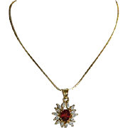 SALE Lovely Synthetic Orange Spinel Gold Plated Pendant