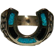 SALE Lucky You! Turquoise & Jet Lucky Horse Shoe Ring sz 4.5