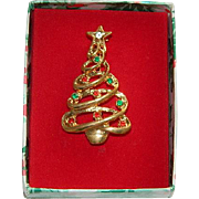 SALE In Original Box Lovely Rhinestone Christmas Tree Brooch