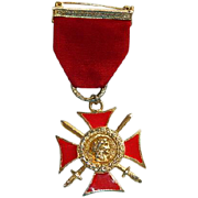 SOLD Vintage WWII B&W Royal Order Maltese Cross Medal Pin Numbered