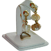 SALE Stunning 1940's Genuine Polished Mother of Pearl Bead Drop Earrings
