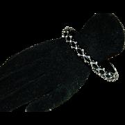 SALE Early Black Bakelite Rhinestone Bangle Bracelet