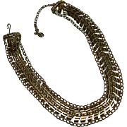 SALE Impressive Coro Triple Strand Etruscan Revival Fancy Chain Necklace
