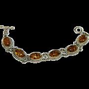 SALE Vintage Honey Amber Sterling Silver Link Bracelet
