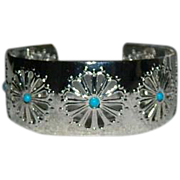 SALE Feminine Mexico Sterling Faux Turquoise Open Worked Cuff Bracelet