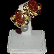SALE Beautiful Crown Trifari Goldstone Ribbon Earrings