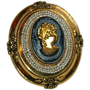 SALE Stunning Coro Black Gold Glass Cameo Brooch