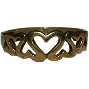 SALE Sublime Vermeil Heart to Heart Linked in Love Ring size 6.5