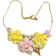 SALE Handmade Floral Collage Necklace ~ by Jackie O