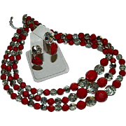 SALE Romantic Blood Red & Chrome Silver Beaded Multi Strand Necklace & Earring Set