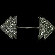 Rare! Art Deco Pot Metal Paste Stone Scarf Pin Brooch