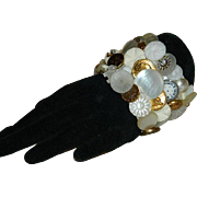 SALE OOAK! Vintage Button Cuff  Bracelet ~ Mid Century to Earlier Buttons!