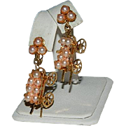"SALE Rare! Articulated Pink ""Pearls"" Wagon Earrings  ~ Hand Cart"