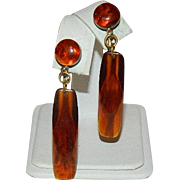 SALE Bakelite! Apple Juice to Amber Faux Tortoise Shell Dangler Earrings