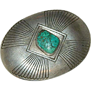SALE 70 Y/O Hopi Native American No. 8 Turquoise Sterling Silver Belt Buckle