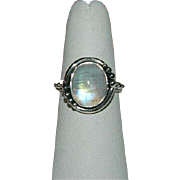 SALE Sublime Genuine Moonstone Sterling Silver Ring ~ Sz 7