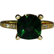 SALE Multifaceted Princess Cut Synthetic Emerald Gold Filled Ring sz 8
