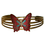 SALE Beautiful Cloisonne Enamel Butterfly Cuff Bracelet