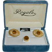 SALE Smart Royale Genuine Tiger Eye Cufflinks & Tie Tack in Original Box