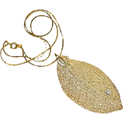 SALE Genuine 24k Gold Dipped Leaf Pendant with Small Inset Diamond
