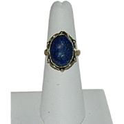 SALE Beautiful Lapis Lazuli Sterling Silver Ring sz 7