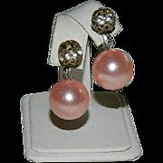 SALE Stunning Pink Pearl Drop Rondelle Earrings ~ Art Deco