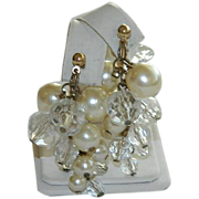 "SALE Alice Caviness ""Pearl""& Crystals Grape Cluster Earrings"