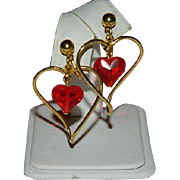 SALE Avon's Darling Red Heart Charm Hoop Earrigns